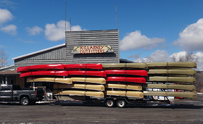 Killarney Outfitters rents Souris River ulta-lite kevlar canoes